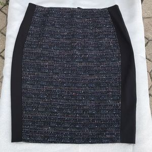 Tweed skirt with ponte inset pencil skirt